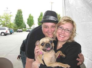 Brooke, Michelle and their dog Bonnie