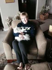 Sen. Jeanne Kohl-Welles and Precious the cat